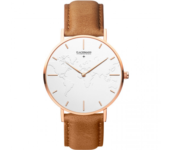 Flachsmann World Traveler 3 Khaki White Rose Gold