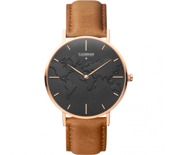 Flachsmann World Traveler 4 Khaki Black Rose Gold