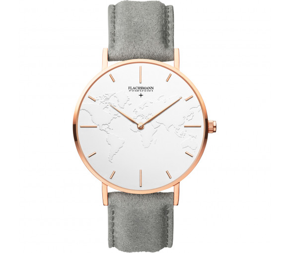 Flachsmann World Traveler 3 Grey Suede White Rose Gold