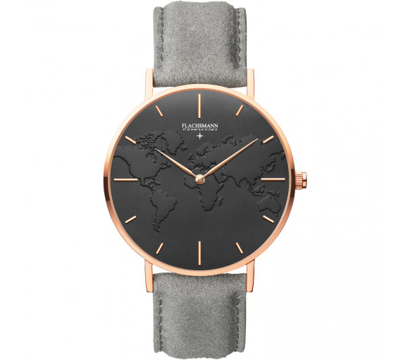 Flachsmann World Traveler 4 Grey Suede Black Rose Gold