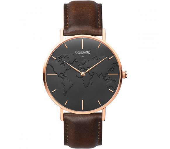 Flachsmann World Traveler 4 Dark Brown Black Rose Gold