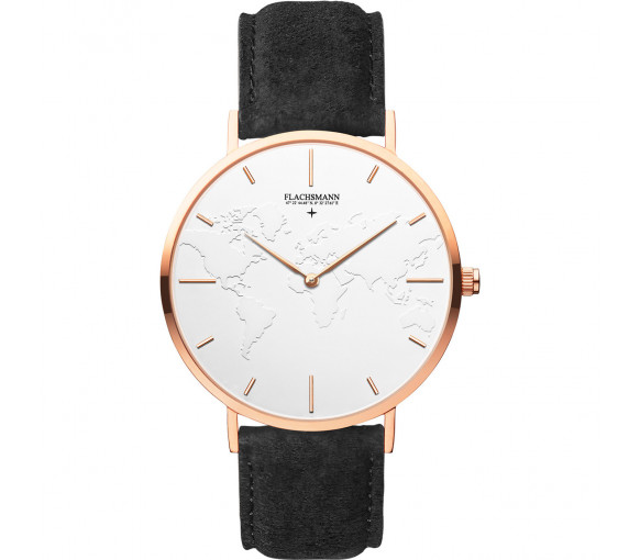 Flachsmann World Traveler 3 Black Suede White Rose Gold