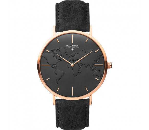 Flachsmann World Traveler 4 Black Suede Black Rose Gold