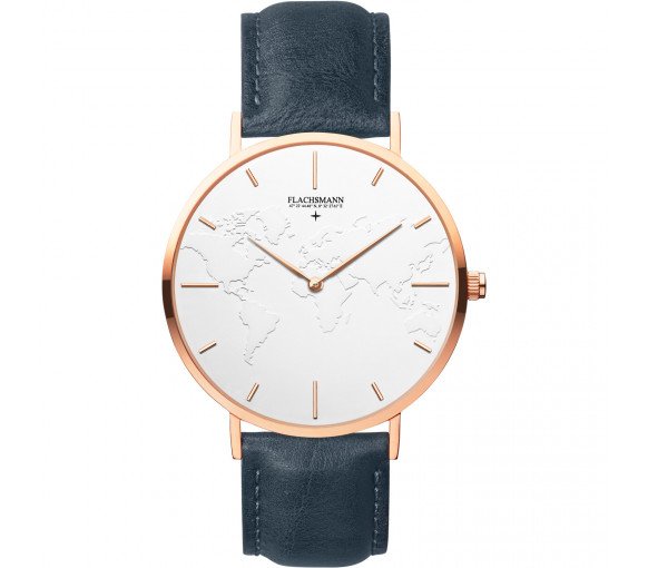 Flachsmann World Traveler 3 Navy Blue White Rose Gold