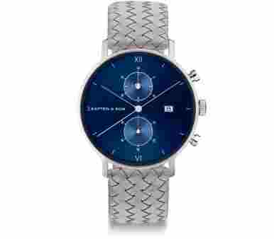 Kapten & Son Chrono Silver Blue Grey Woven Leather - CD03C1002F12A
