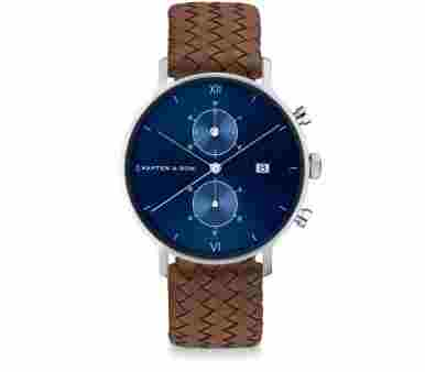 Kapten & Son Chrono Silver Blue Brown Woven Leather - CD03C1099F12A