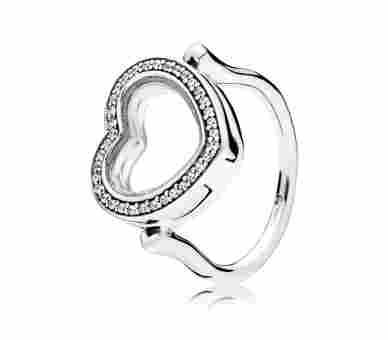 Pandora Sparkling Floating Heart Locket Ring - 197252CZ