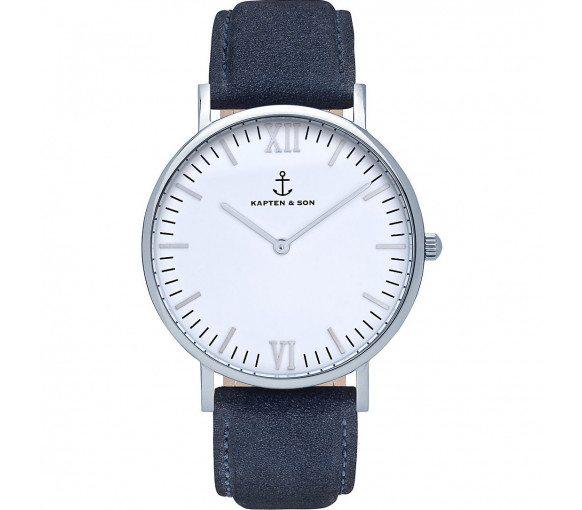 Kapten & Son White Silver Night Blue Suede Leather