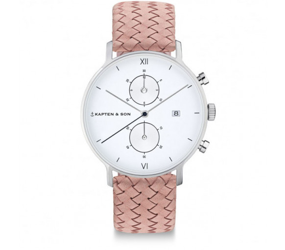Kapten & Son Chrono Silver Rose Woven Leather - CD03A1031F12A