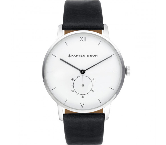 Kapten & Son Heritage Silver Black Leather - CF03A0199F22A