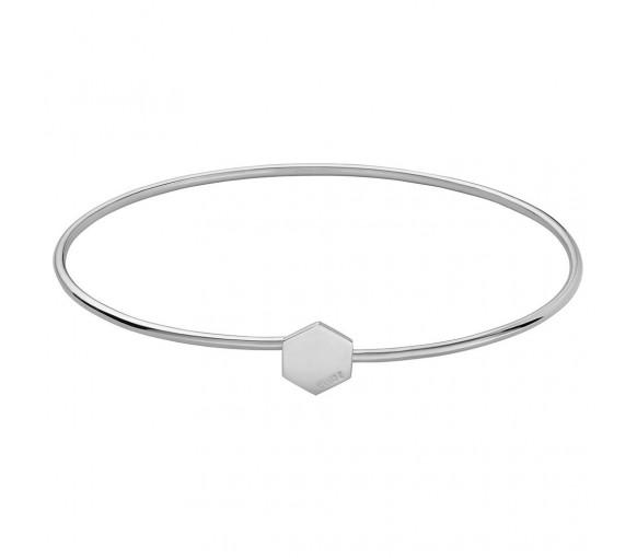 Cluse Essentielle Silver Hexagon Bangle Bracelet - CLJ12001