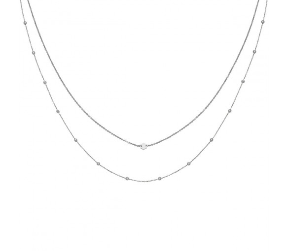 Cluse Essentielle Silver Set of Two Necklaces With Petite Hexagon - CLJ22004