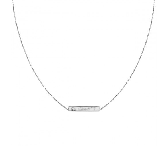 Cluse Idylle Silver Marble Bar Necklace - CLJ22009