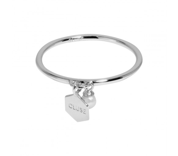 Cluse Essentielle Silver Hexagon and Pearl Charm Ring - CLJ42007