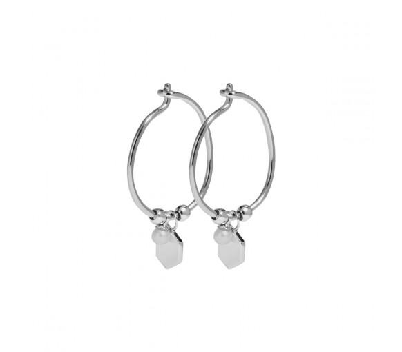 Cluse Essentielle Silver Hexagon and Pearl Charm Hoop Earrings - CLJ52002