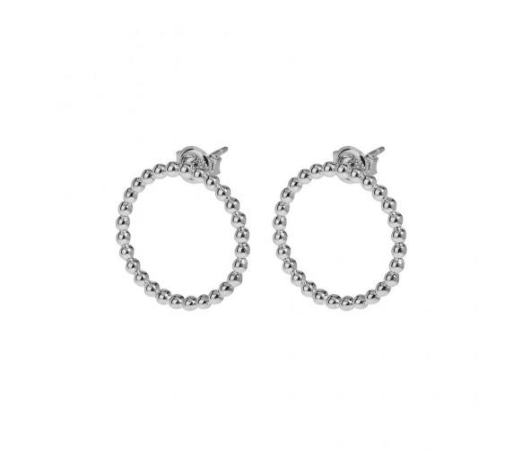 Cluse Essentielle Silver Open Circle Embellished Stud Earrings - CLJ52007