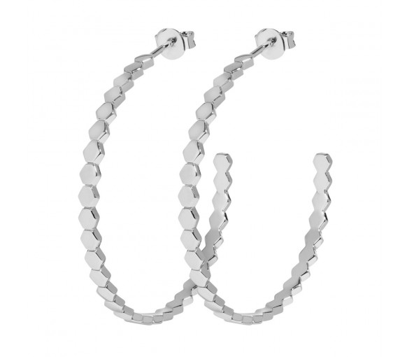 Cluse Essentielle Silver All Hexagons Hoop Earrings - CLJ52008