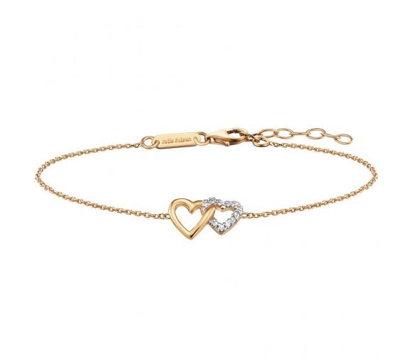 Julie Julsen Amore Armband 2 Herzen Gold - JJBR0263.3