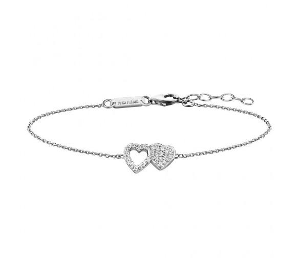 Julie Julsen Amore Armband 2 Herzen Silber - JJBR0265.1